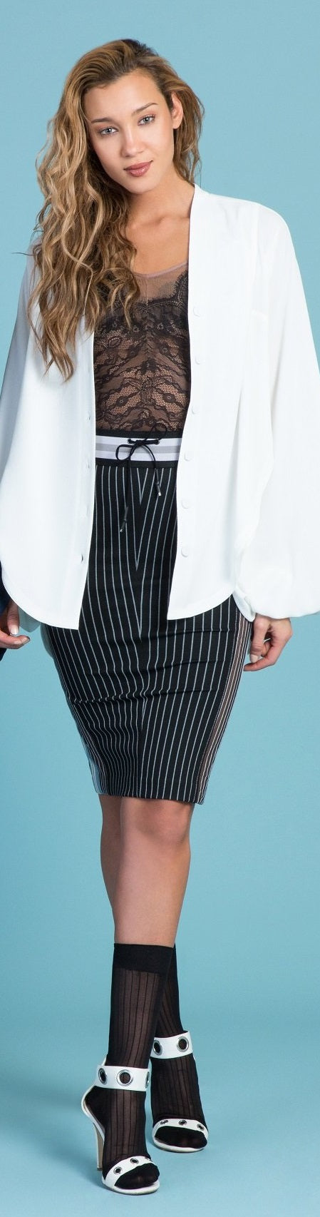 Pinstripe Ponte Pencil Skirt- Sample Sale