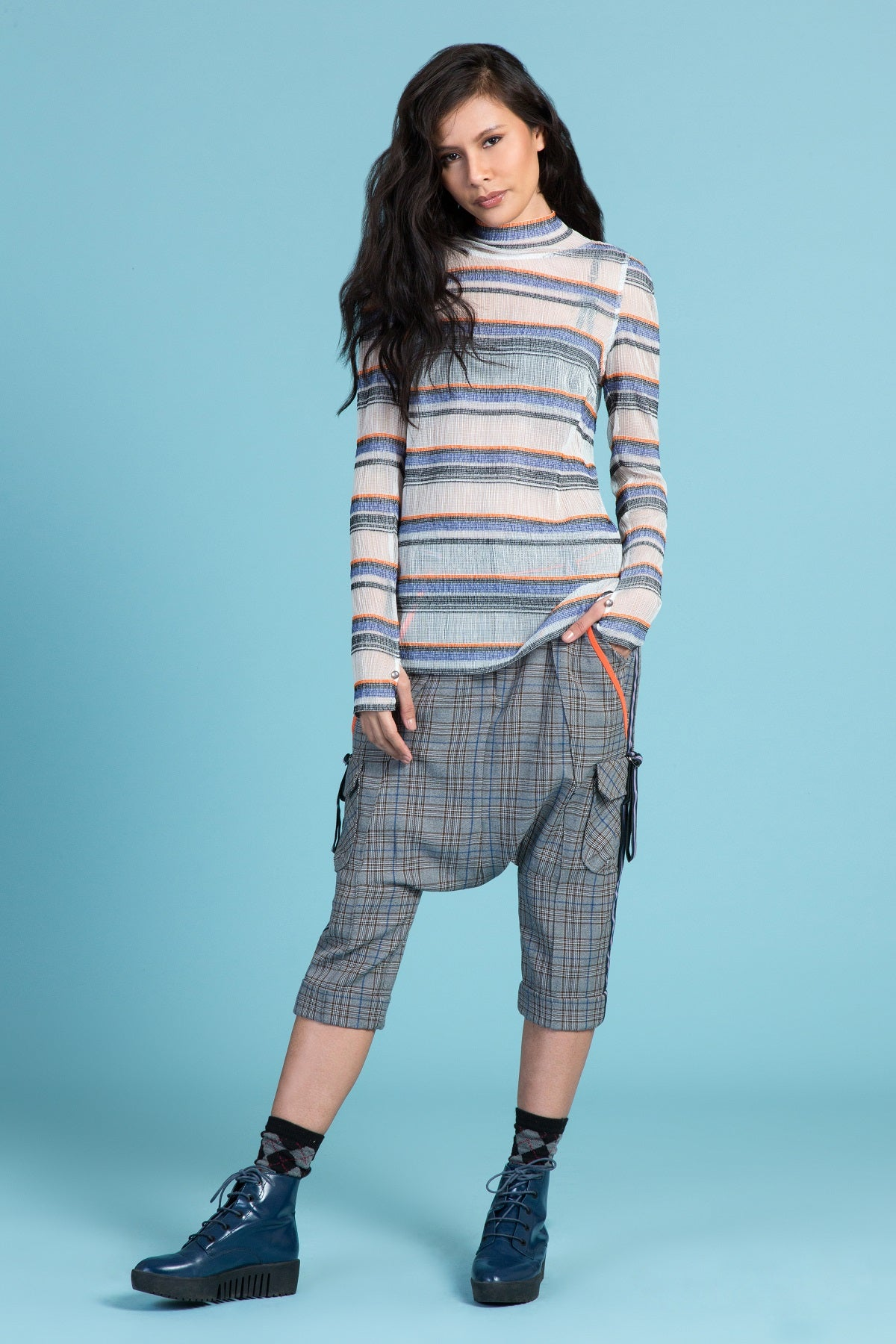 Montana Sky Sheer Stripe Turtleneck