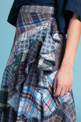 Metal Flaked Plaid Collage Skirt