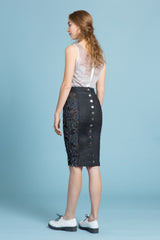 Frayed Stretch Denim Pencil Skirt (1324049367115)