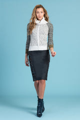 Metallic Oatmeal Sweater W/Removable Turtleneck & Jersey Chain Maille Elbow Patch