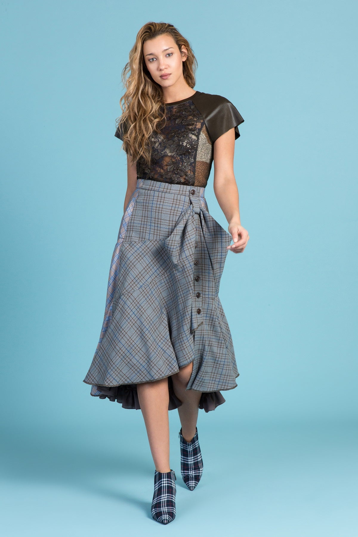 English Sport Plaid Draped Pocket Skirt