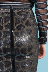 Ocelot Sequin Skirt
