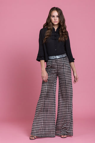 Houndstooth Wide Leg Pant (1483801460811)