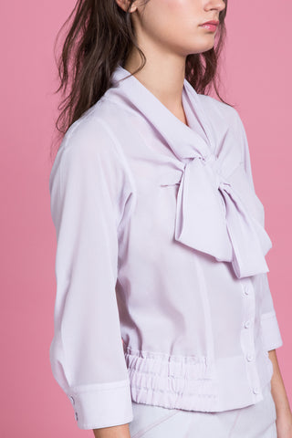 Flounced Bow Collar Blouse (1483920343115)