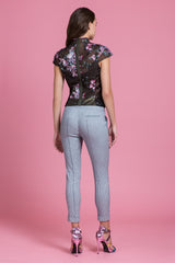 Sequin Cherry Blossom Mandarin Blouse