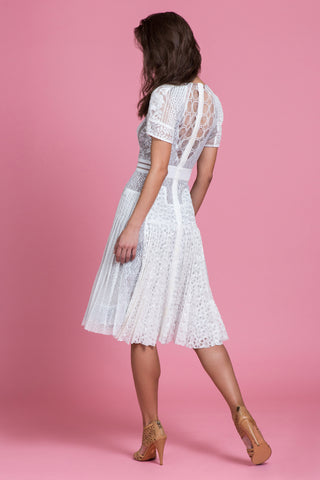 Powder Lace Collage Fit & Flare Dress