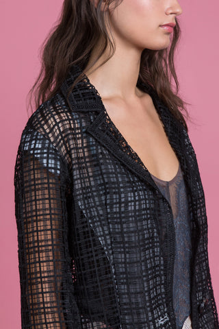 Mascara Textured Lace Boyfriend Jacket