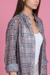 Driftwood Sequin Plaid Boyfriend Shirt (1484174917707)