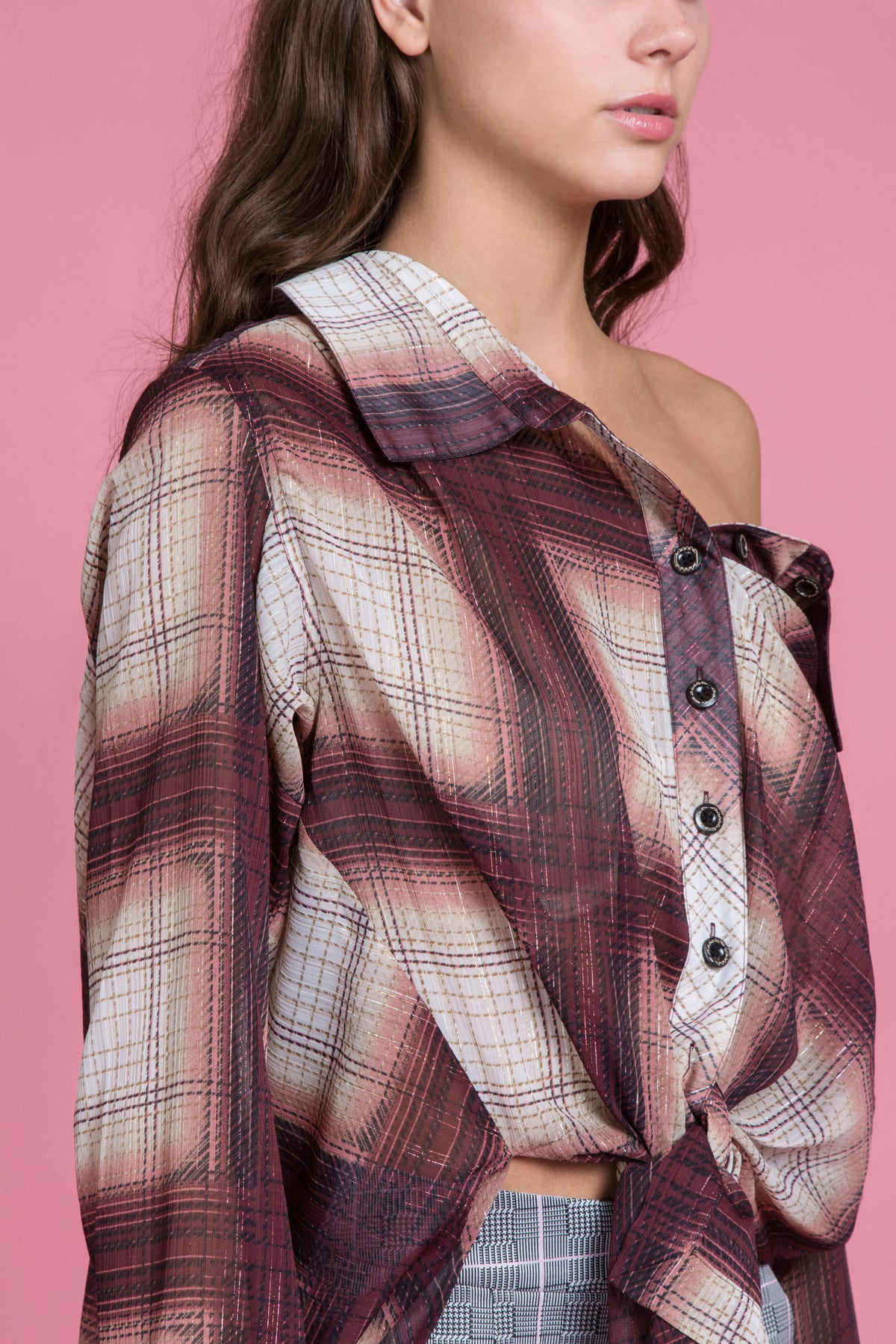 Off The Shoulder Ombre Plaid Shirt