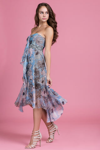 Oil Pastel Blue Strapless Dress (1484142510155)