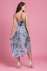 Oil Pastel Blue Strapless Dress
