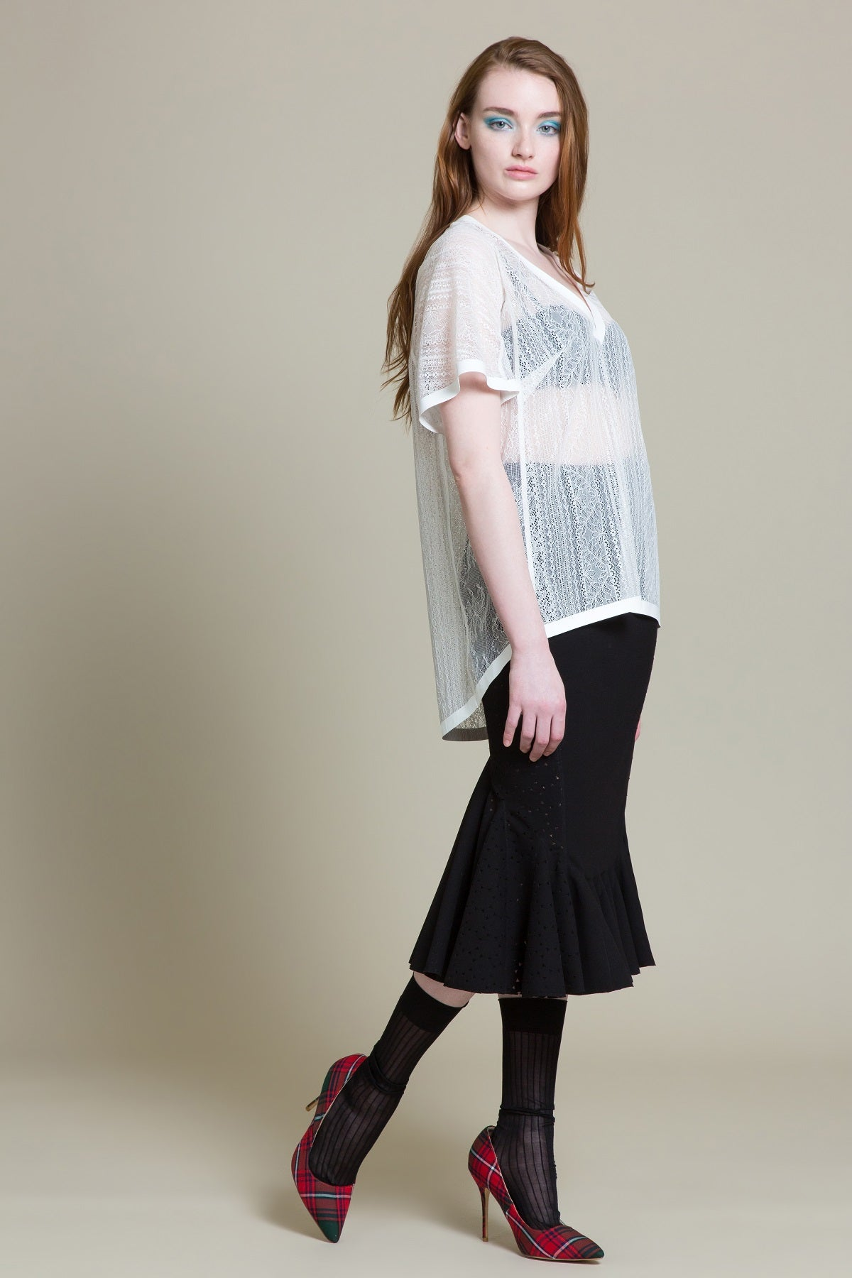 Loose Lace V Neck Tee (3519284904011)
