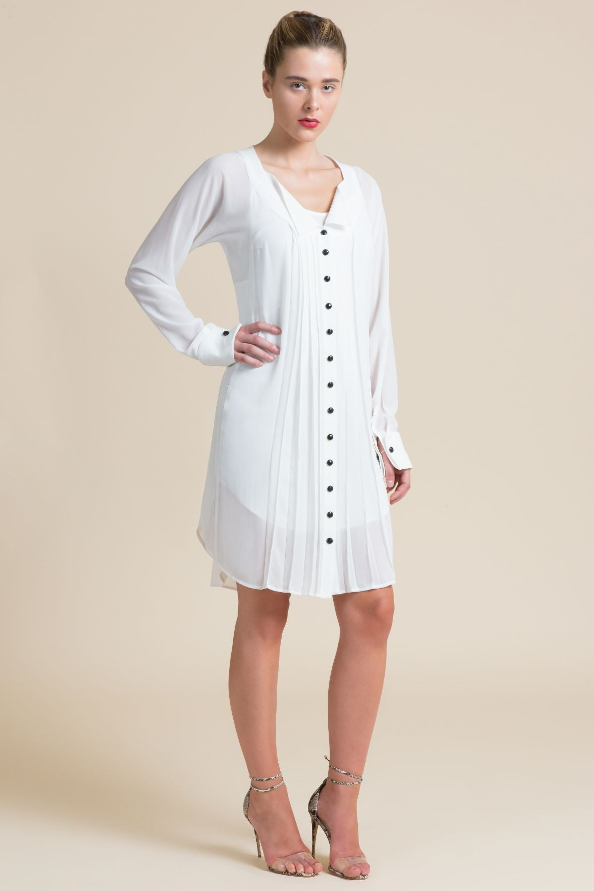 Pleated Wingtip Shirt Dress