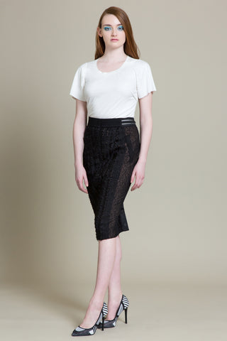 Herringbone Lace Pencil Skirt