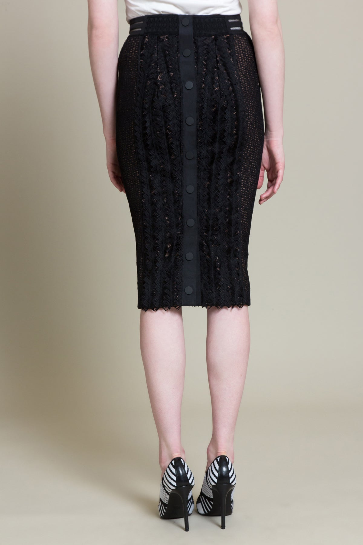 Herringbone Lace Pencil Skirt (3519303516235)