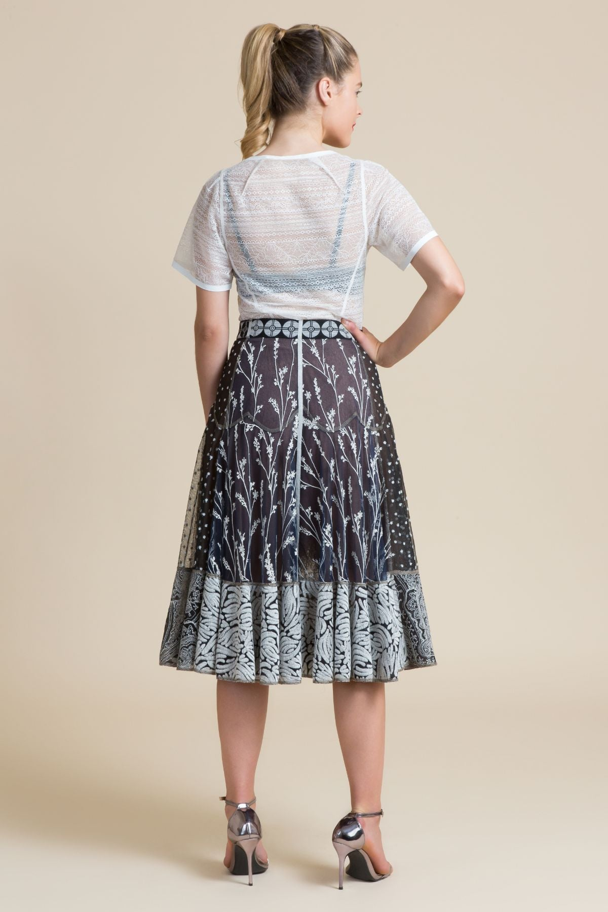 Stonekeep Embroidered Fit & Flare Skirt (3519304892491)