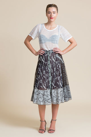 Stonekeep Embroidered Fit & Flare Skirt