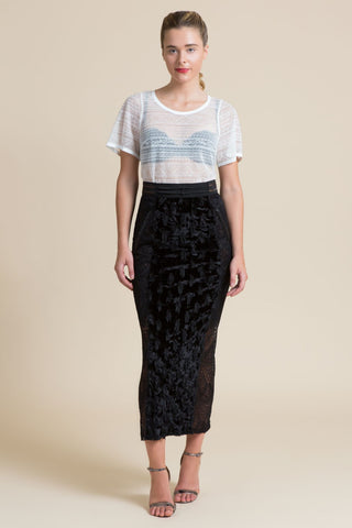 Mascara Spotted Velvet Hobble Skirt (3521344602187)