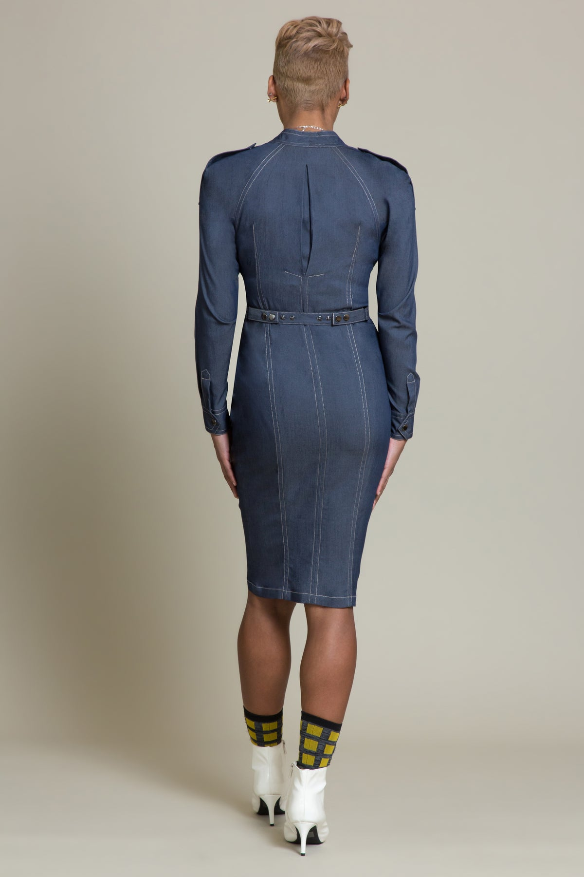 Denim Twist Front Dress