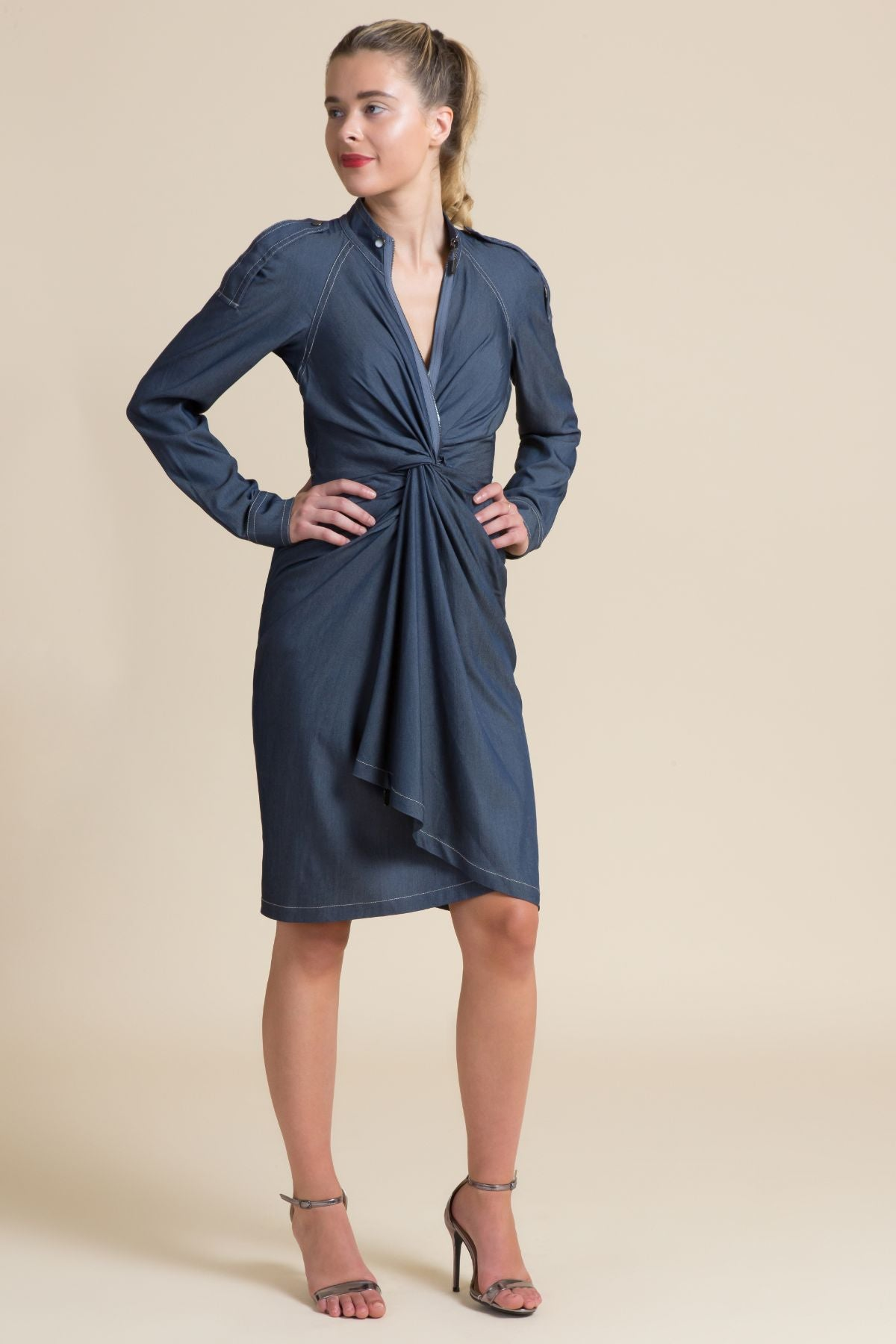 Denim Twist Front Dress (3519401230411)