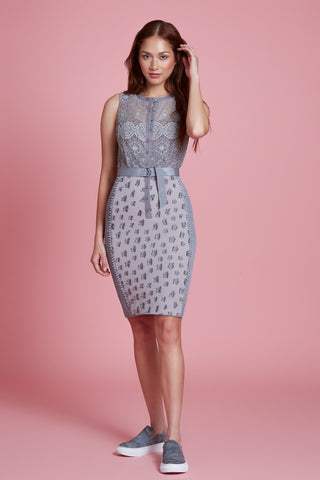 Floral Applique Lace Sheath in Petite