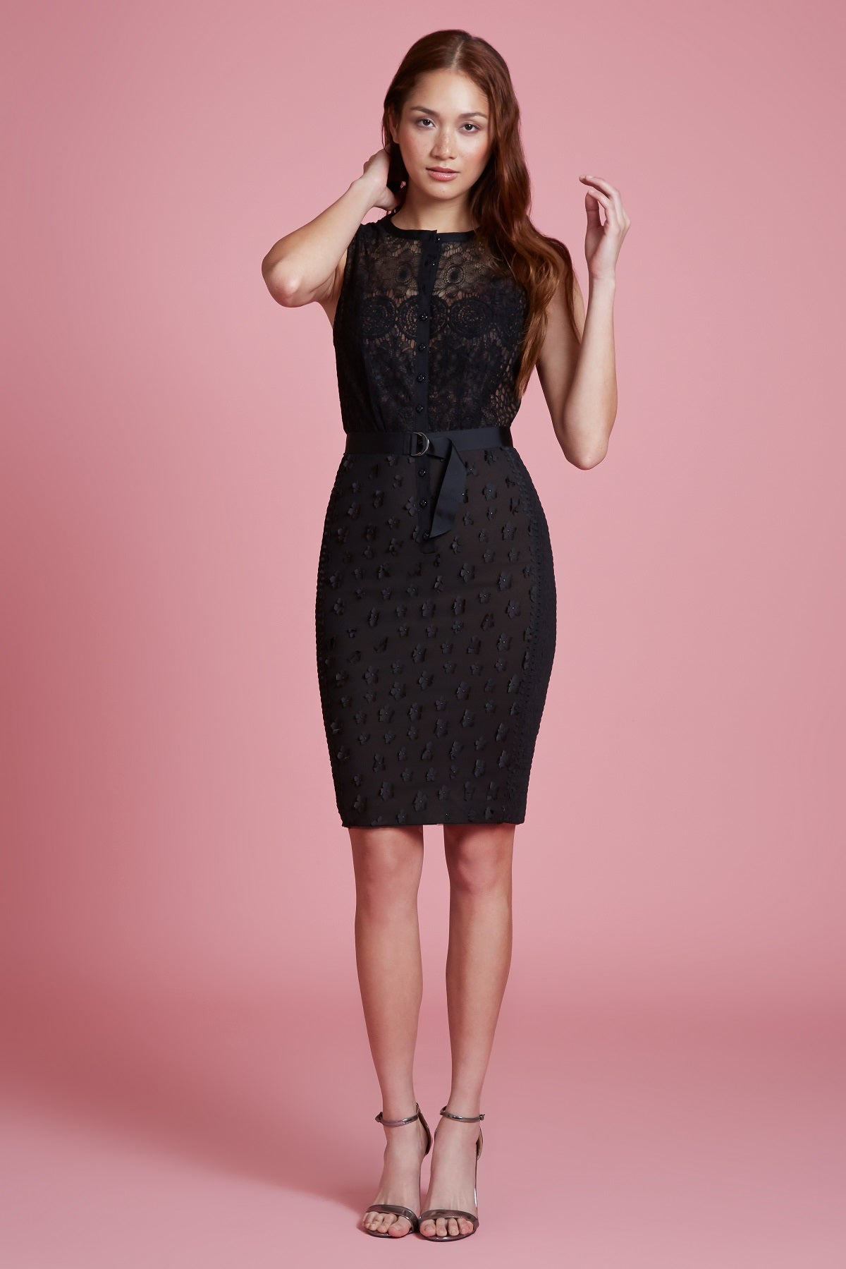 Floral Applique Lace Sheath - Final Sale