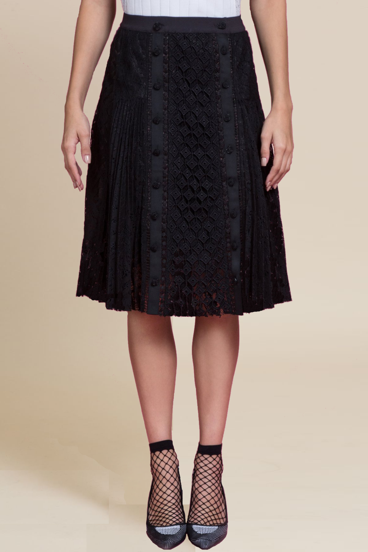 Mascara Pleated Lace Skirt (1484953419851)