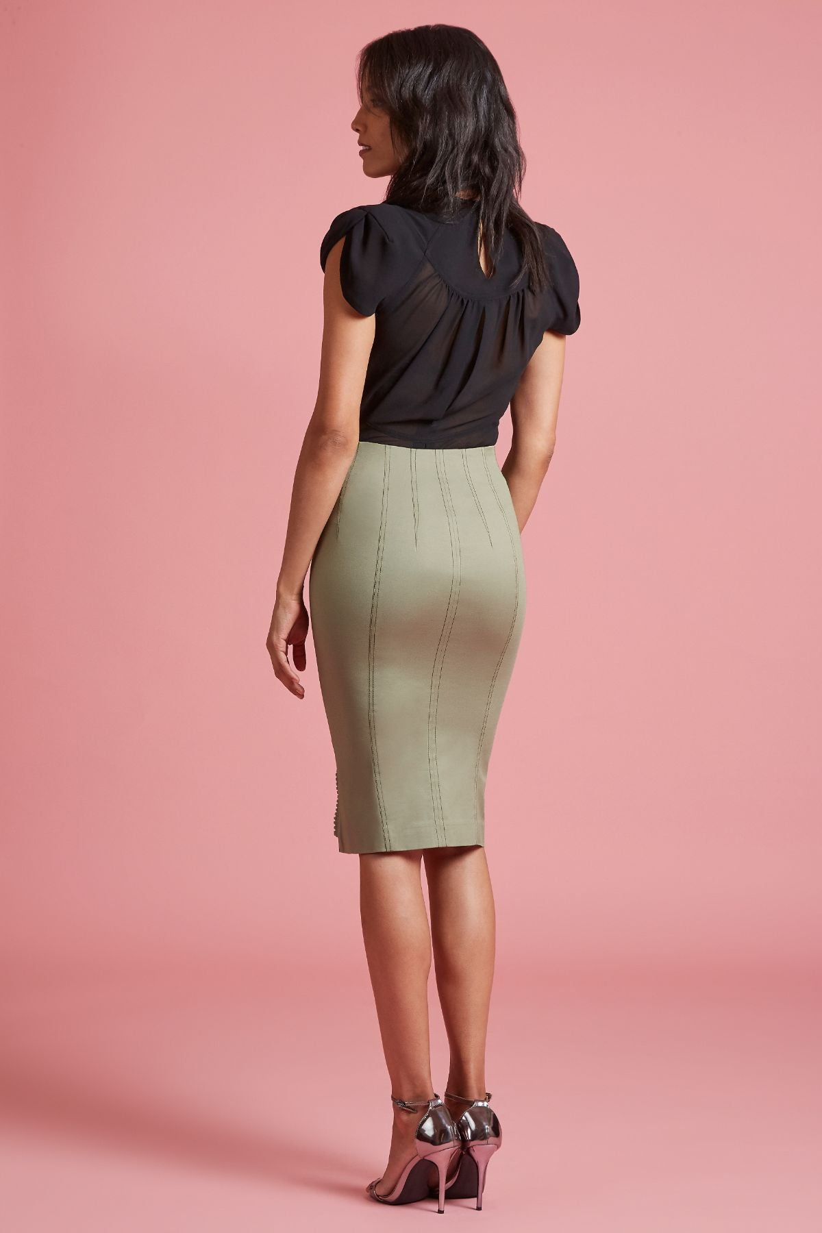 Stretch Twill Zip Slit Pencil Skirt (4185308233803)