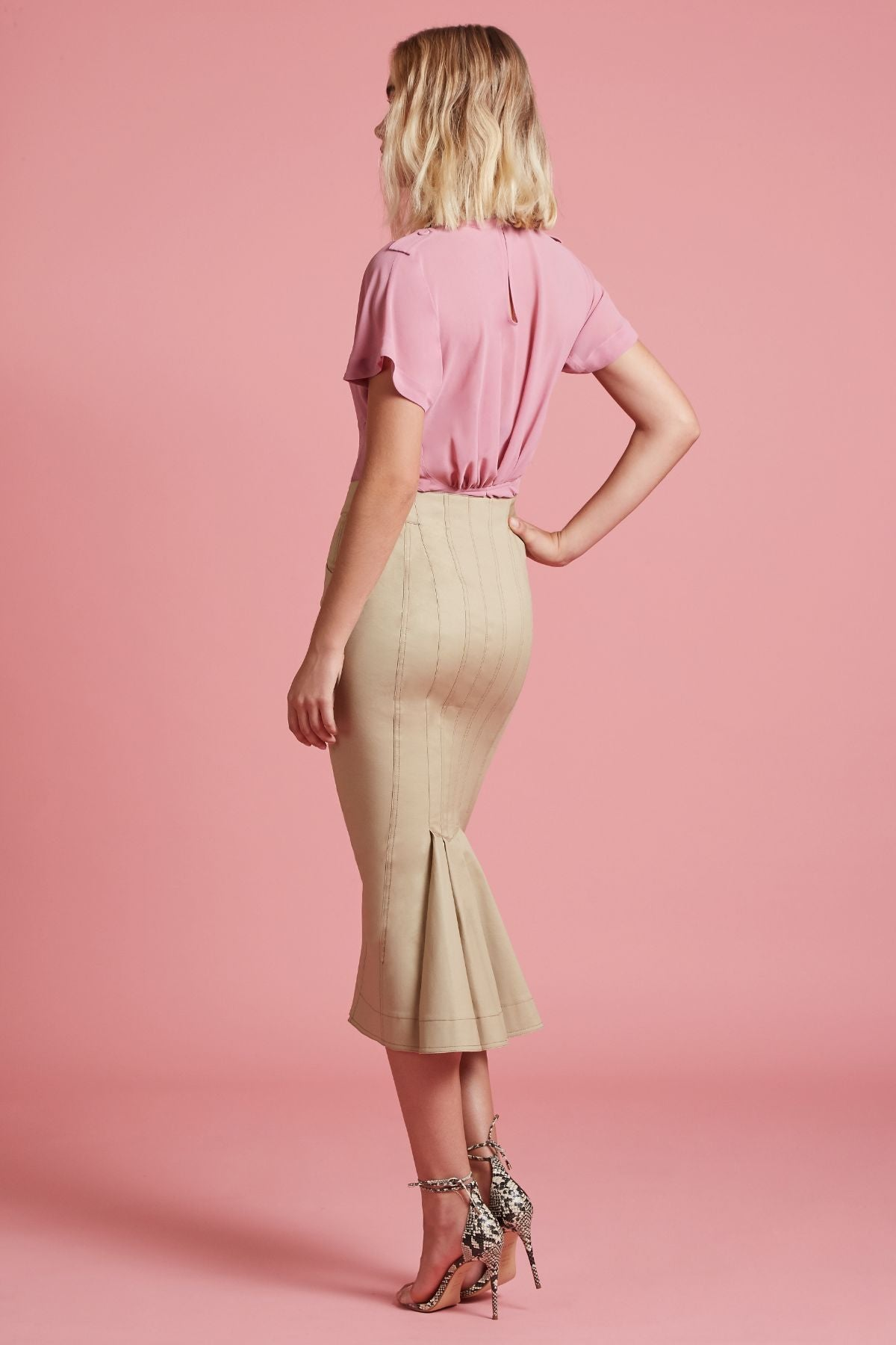 Stretch Twill Fishtail Skirt (4185314787403)