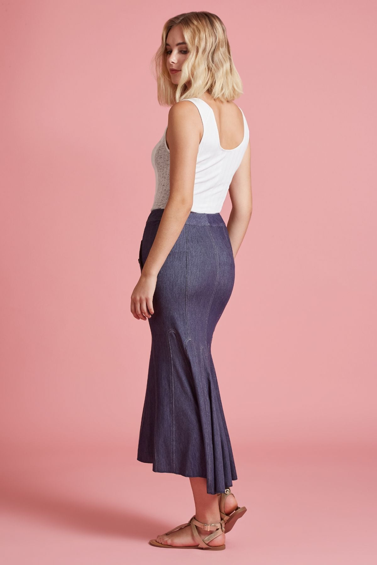 Knit Denim Mermaid Skirt (4185352962123)