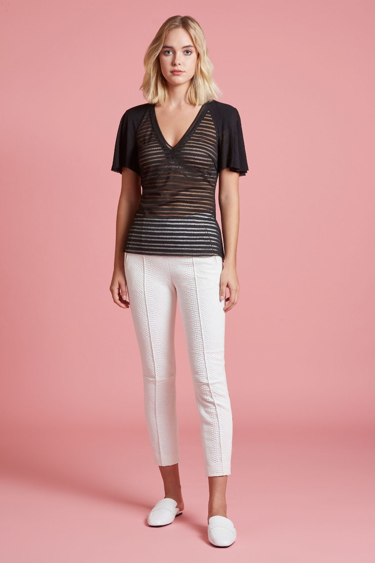 Sheer Stripe Short Sleeve Tee (4185333891147)