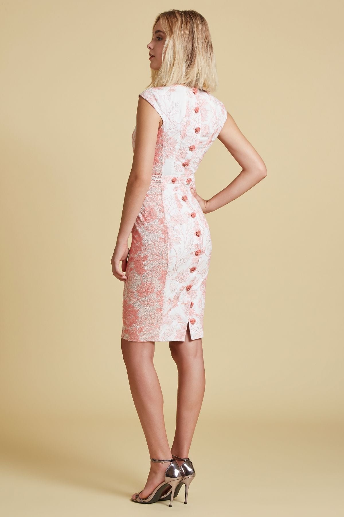 Coral Floral Embroidered Voile Cap Sleeve Sheath (4185165168715)