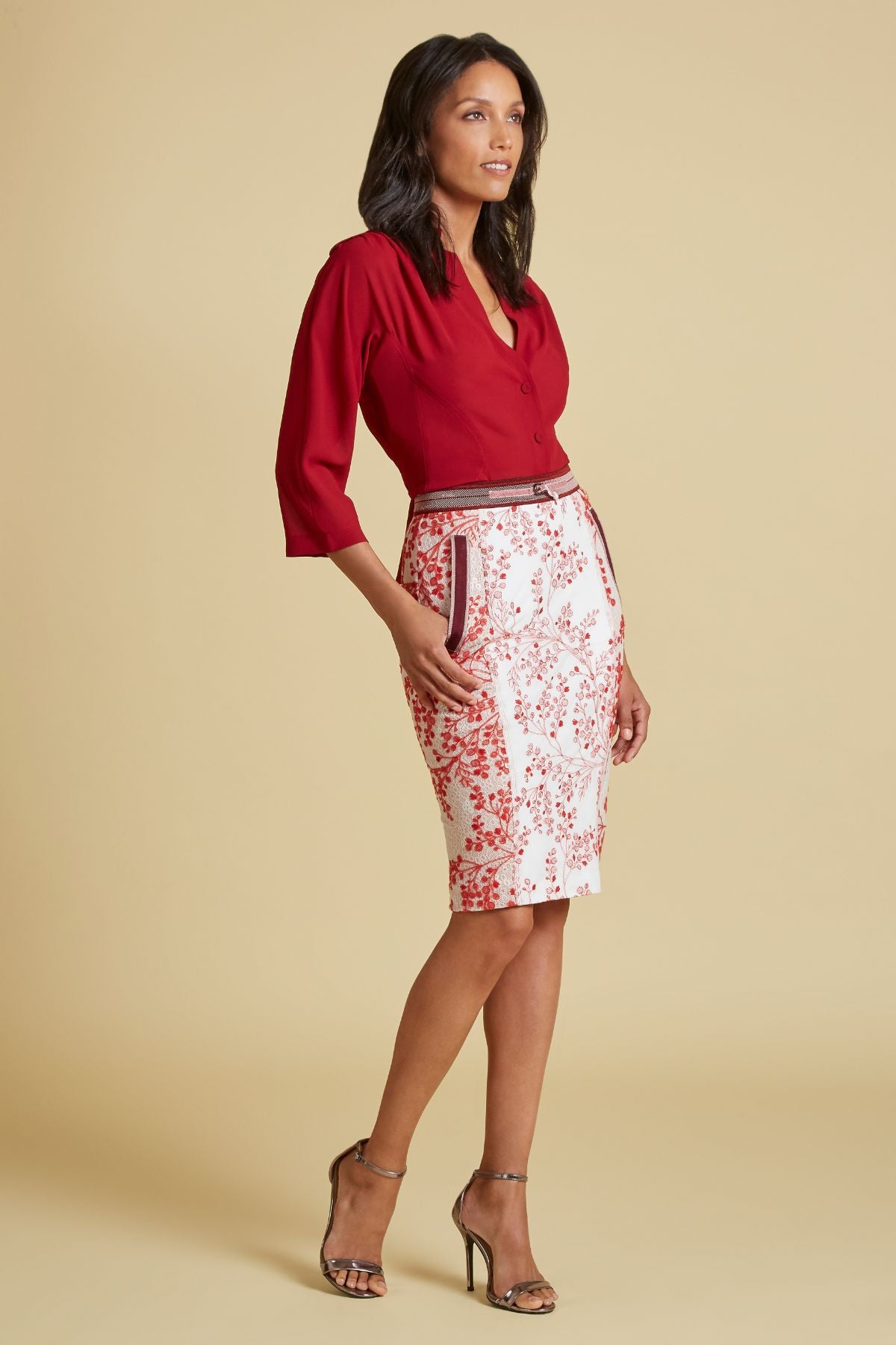 Berry Embroidered Pencil Skirt (4185204850763)