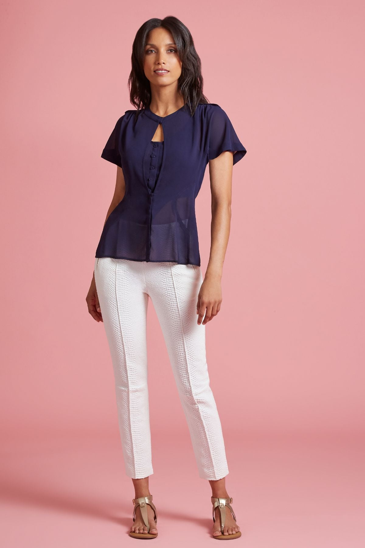 Georgette Keyhole Blouse with Rose Pin (4185327304779)