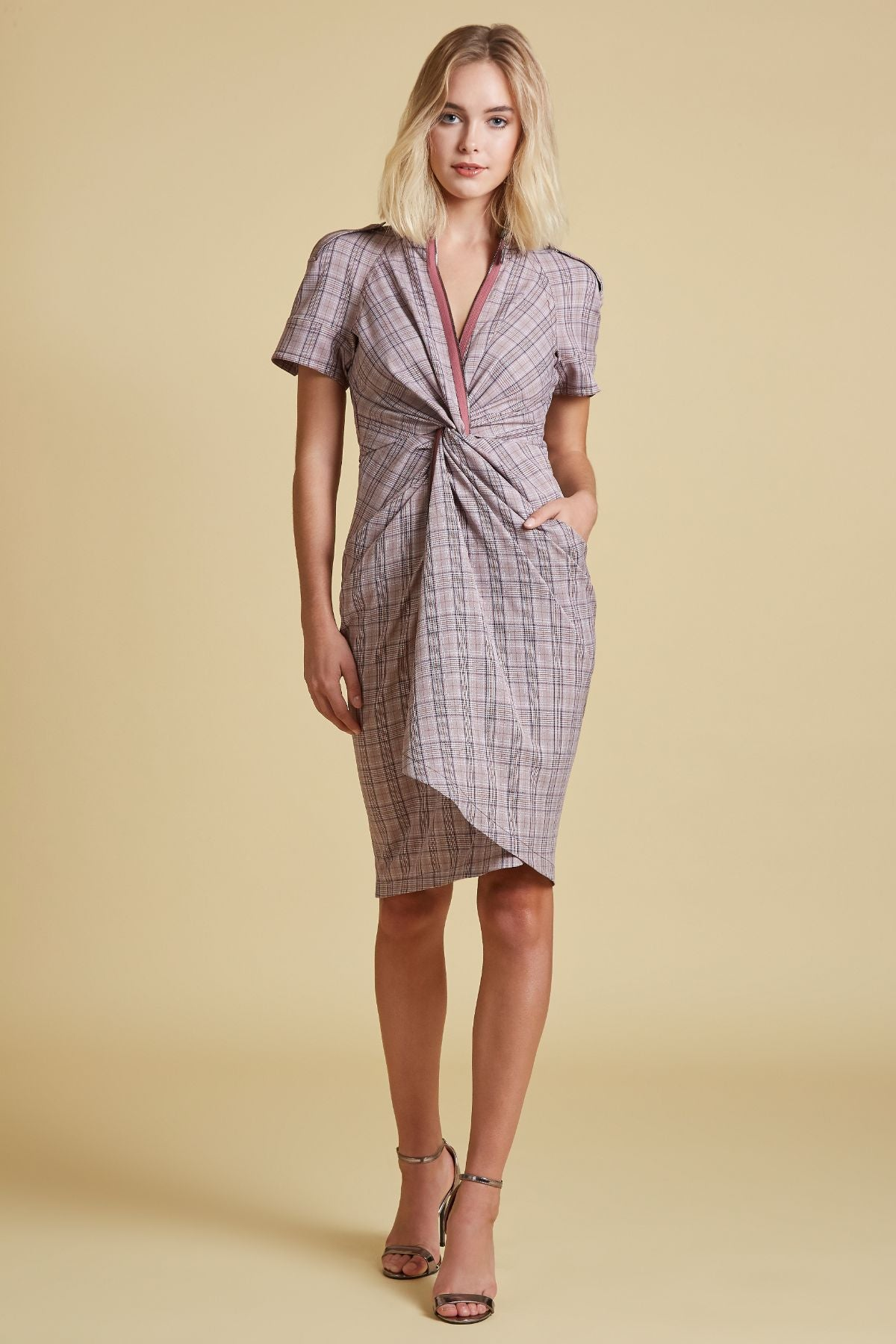 Plaid Twist Front Dress (4440817991755)