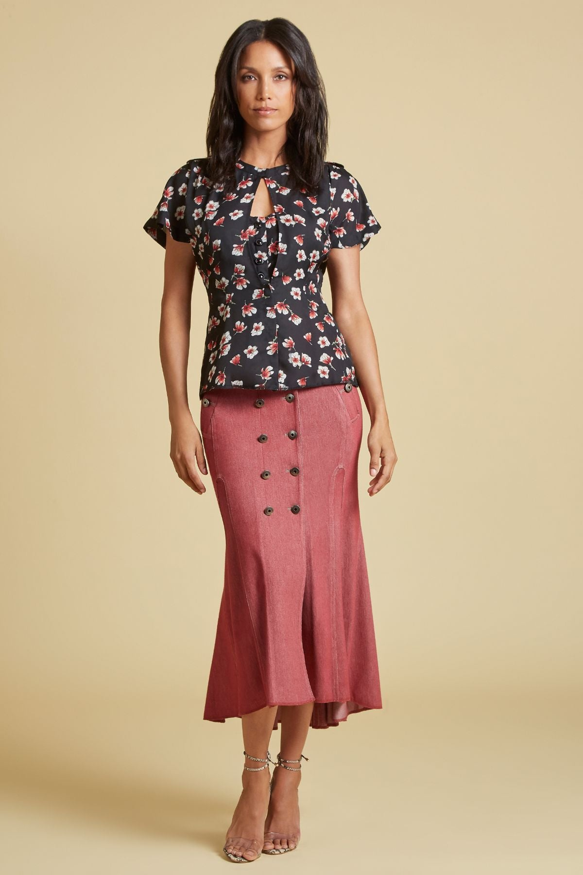 Lotus Flower Keyhole Blouse (4185229099083)