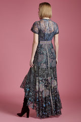Frosted Sequin Lace Waterfall Gown