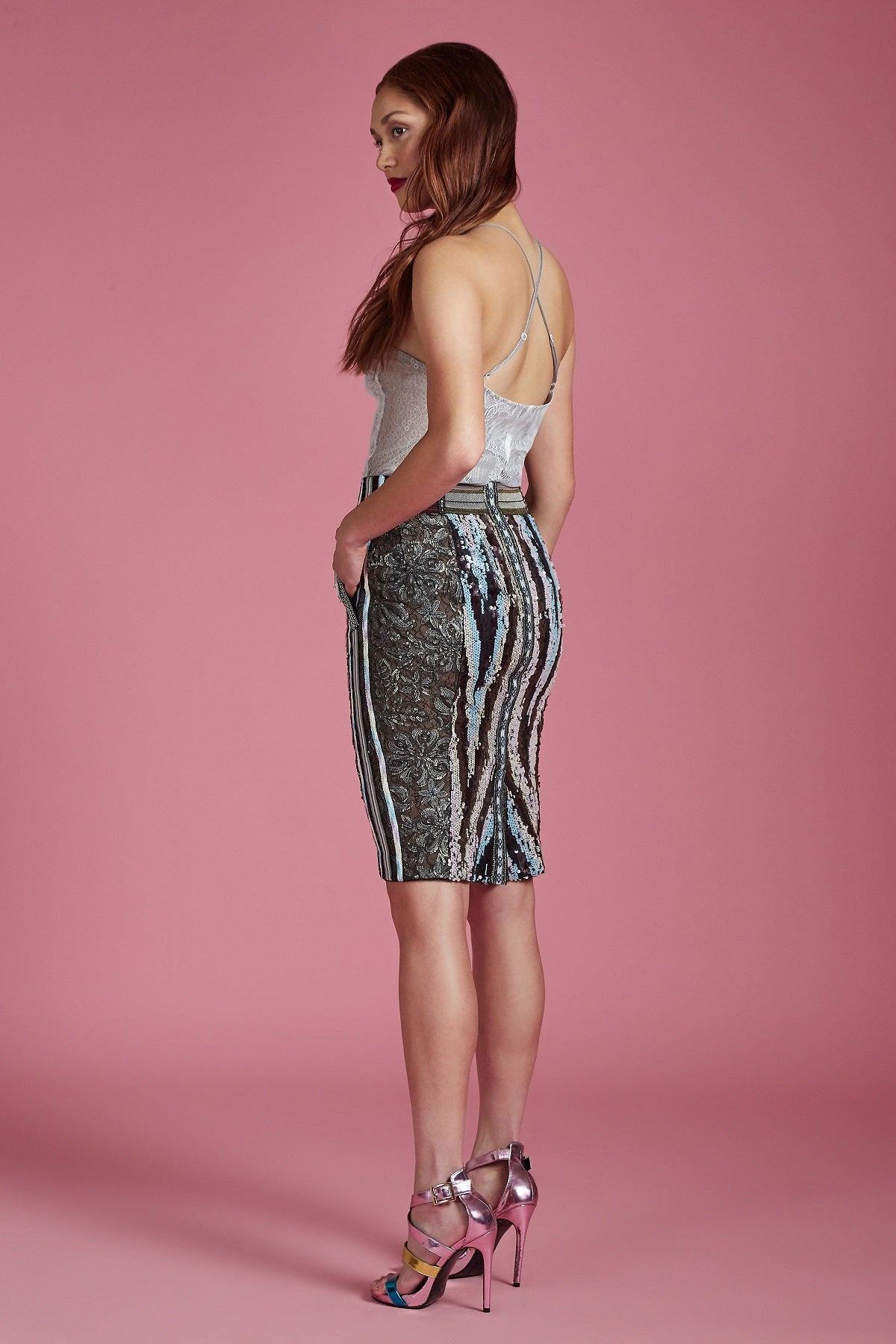 Aurora Sequin Pencil Skirt