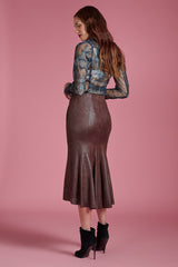 Vegan Leather Fishtail Skirt