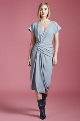 Side Draped V-Neck Sheath