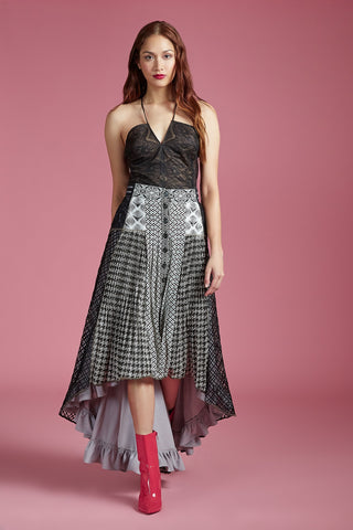 Houndstooth Waterfall Skirt