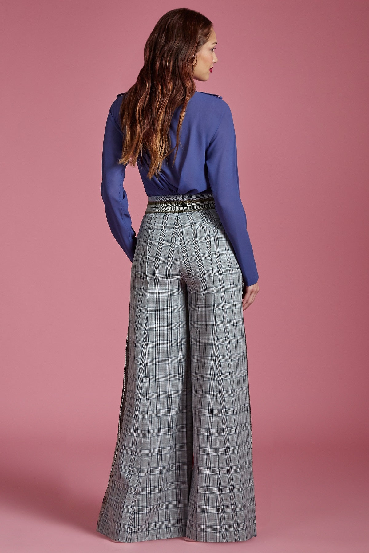 Glen Plaid Wide Leg Pant