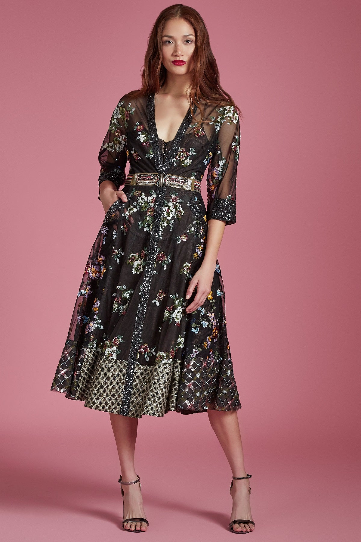 Sequin Lace Forest Blossom Dress