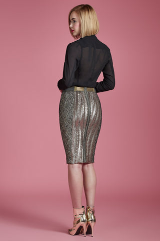 Gold Sequin Pencil Skirt - Final Sale