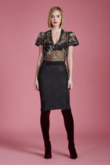 A Rose is A Rose Brocade Pencil Skirt