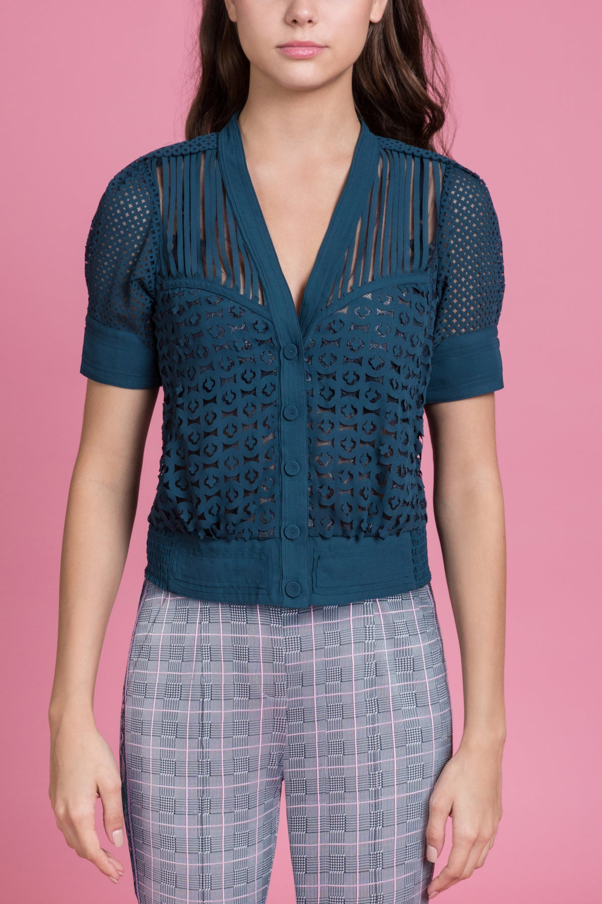 Laser Cut Cardi Blouse - Final Sale