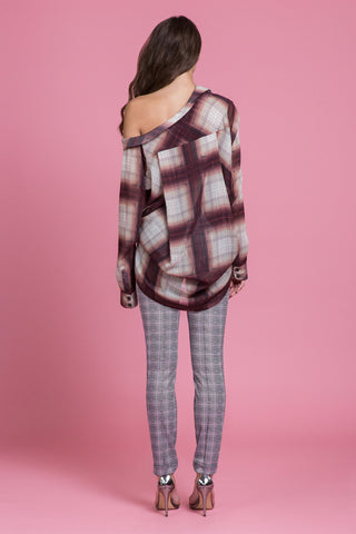Off The Shoulder Ombre Plaid Shirt (1484153782347)