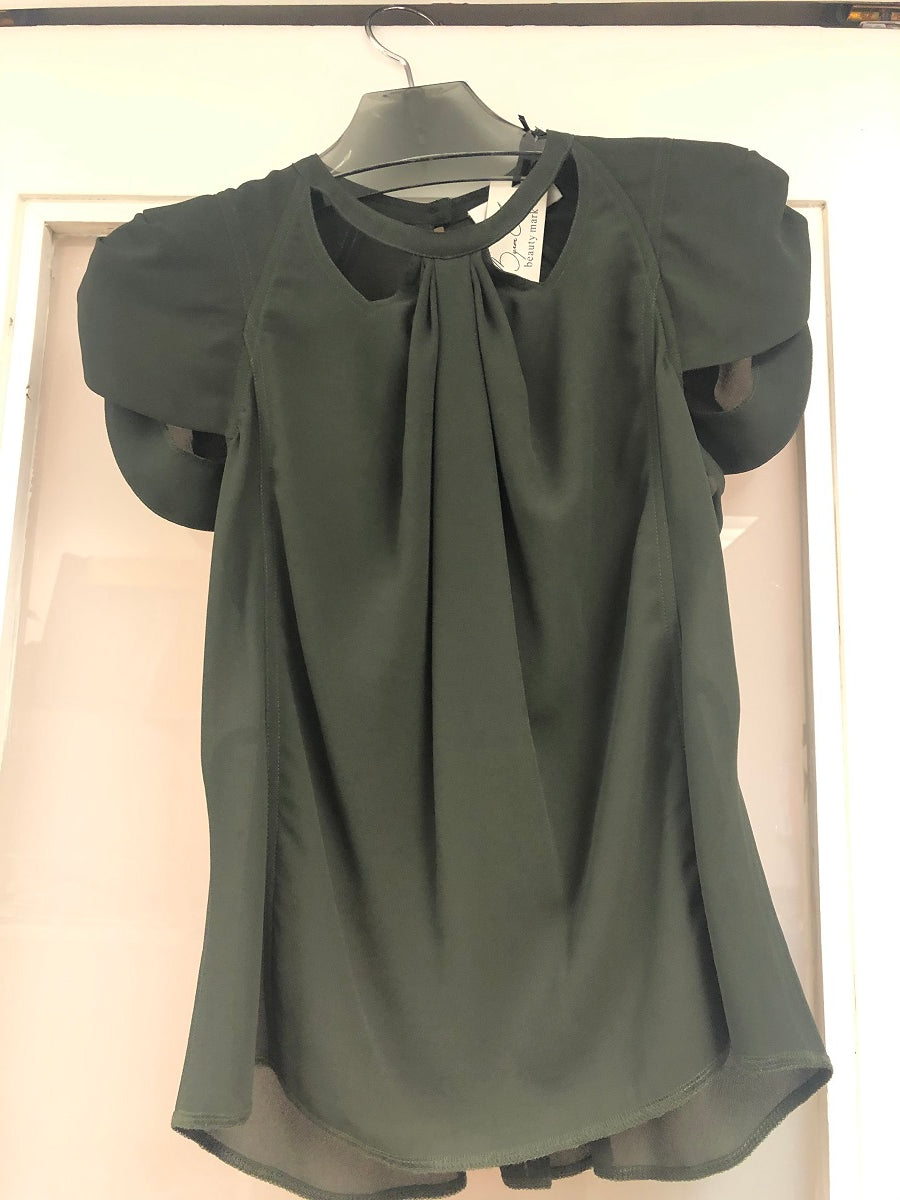 Mascara Cut Out Cap Sleeve Blouse - Sample Sale