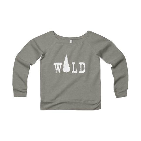 Wild Off Shoulder Women's Sweatshirt - Sponge Fleece Wide Neck Sweatshirt